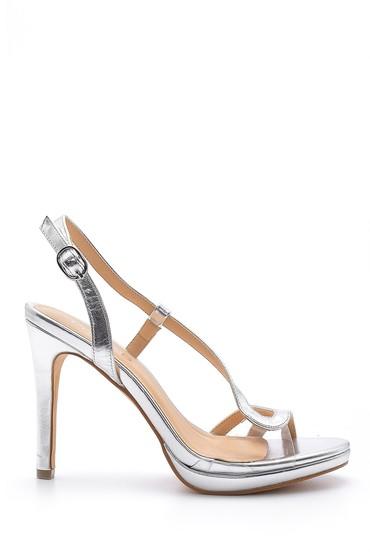 Gri Kadın Metalik Topuklu Ayakkabı 5638129042