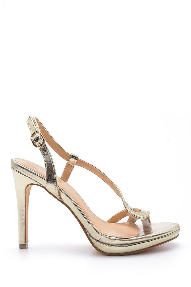 Sarı Kadın Metalik Topuklu Ayakkabı 5638129041