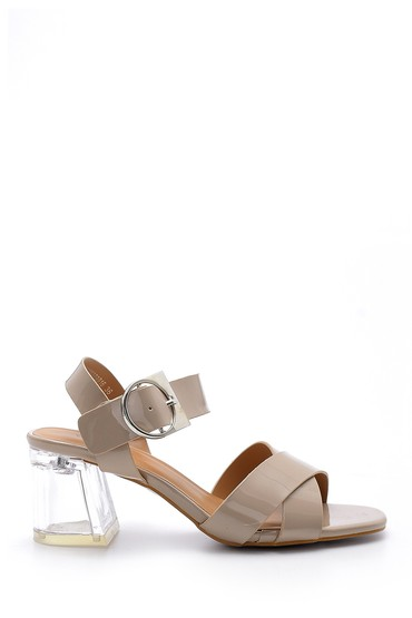Bej Kadın Şeffaf Topuklu Sandalet 5638132918