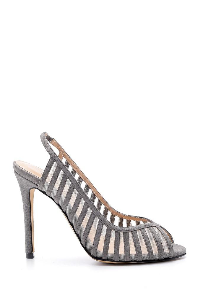 Gri Kadın Süet Deri Topuklu Ayakkabı 5638161387