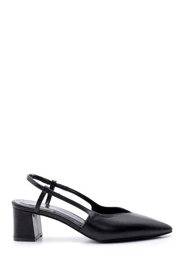 Siyah Kadın Deri Topuklu Ayakkabı 5638163224