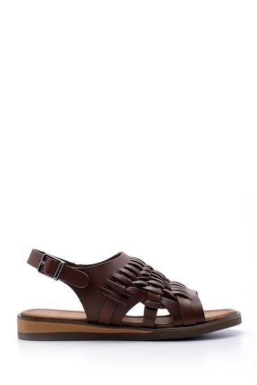 Kahverengi Kadın Deri Sandalet 5638168003