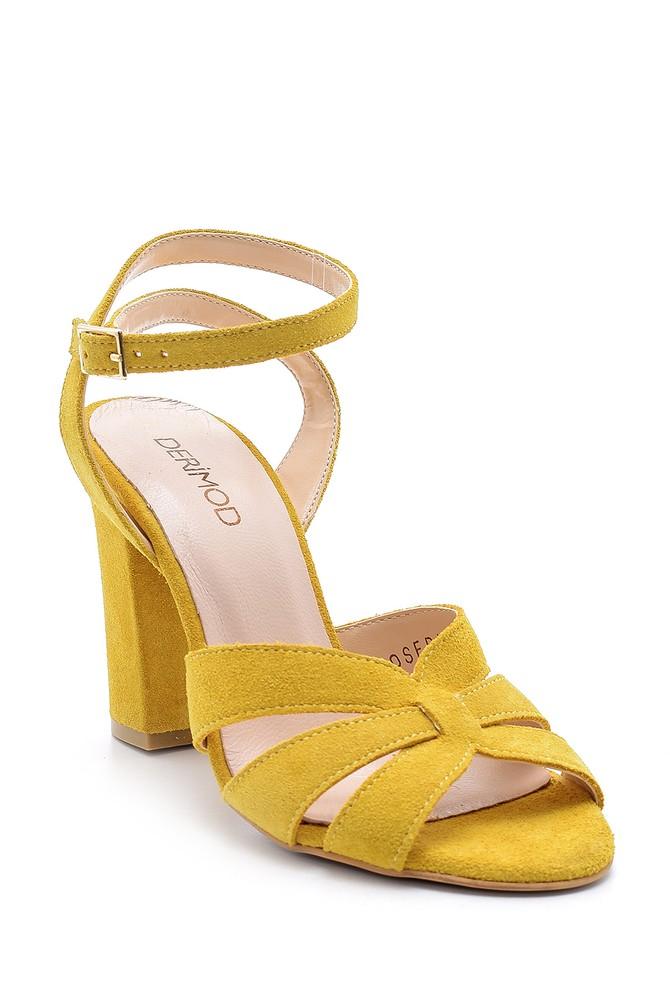 5638162221 Kadın Süet Deri Topuklu Sandalet