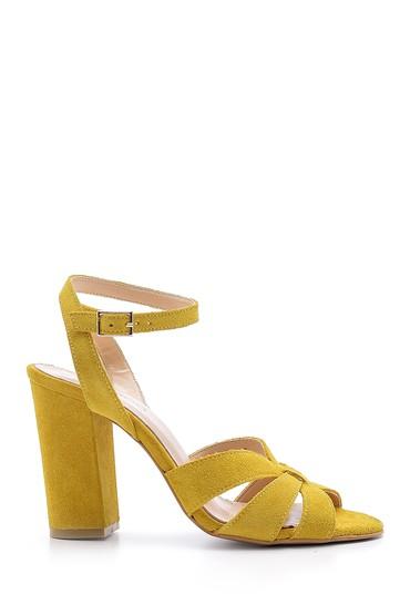 Sarı Kadın Süet Deri Topuklu Sandalet 5638162221