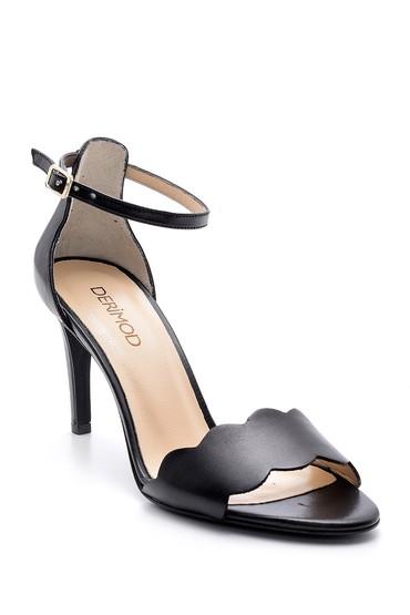 Siyah Kadın Deri Topuklu Sandalet 5638162549