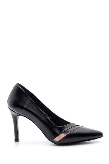 Siyah Kadın Şeffaf Detaylı Deri Stiletto 5638163341