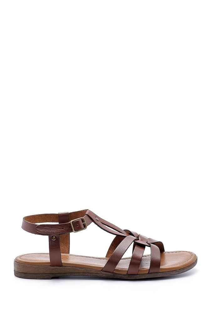 Kahverengi Kadın Deri Sandalet 5638161503