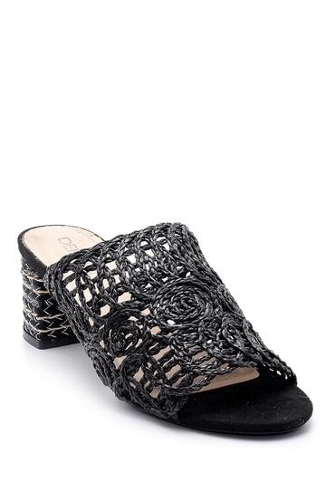 Siyah Kadın Hasır Görünümlü Topuklu Terlik 5638125618