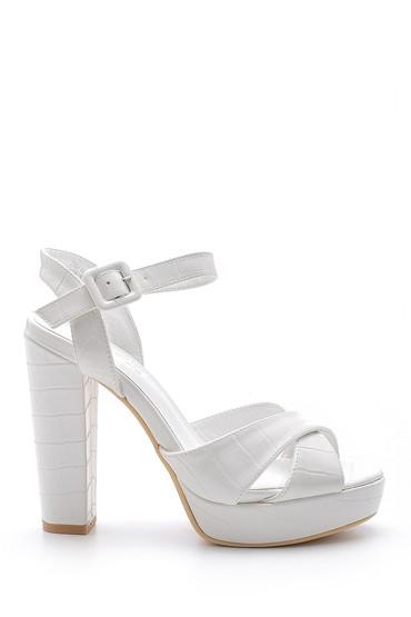 Beyaz Kadın Kroko Desenli Topuklu Ayakkabı 5638136166