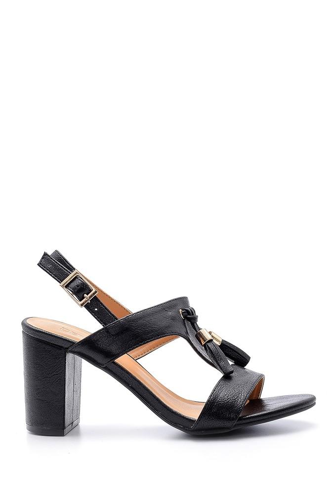 Siyah Kadın Püskül Detaylı Topuklu Sandalet 5638123761