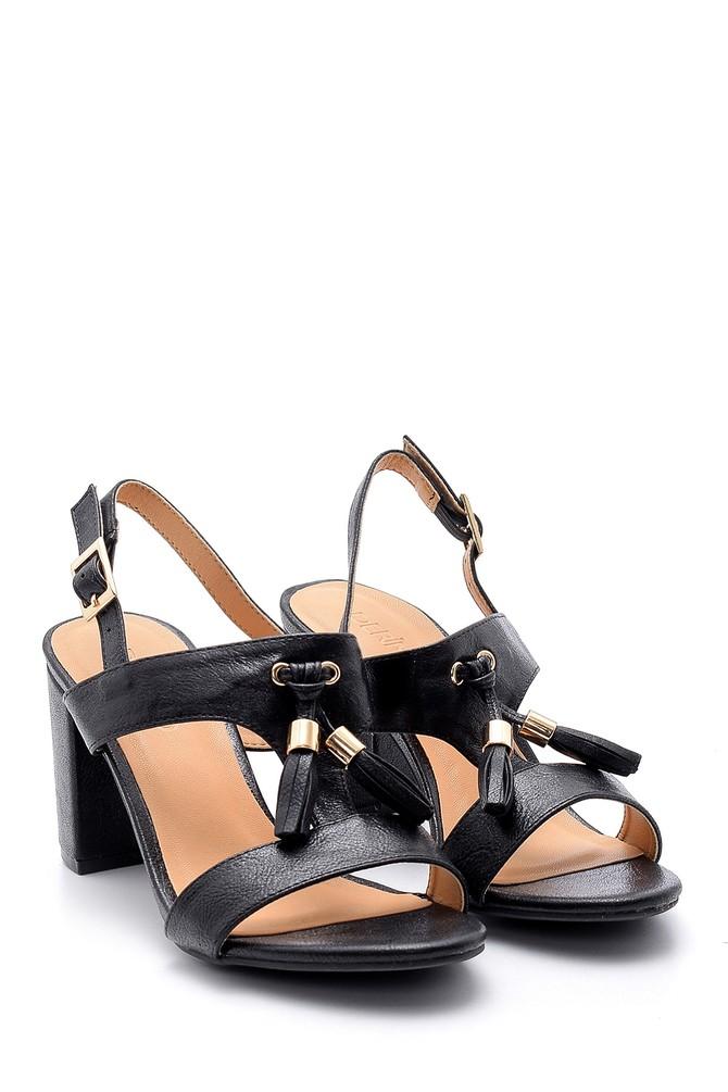5638123761 Kadın Püskül Detaylı Topuklu Sandalet