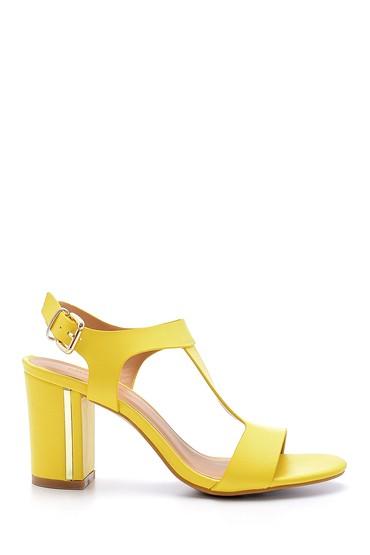 Sarı Kadın Kalın Topuklu Sandalet 5638126410