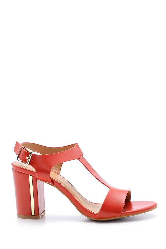 Kırmızı Kadın Kalın Topuklu Sandalet 5638126414