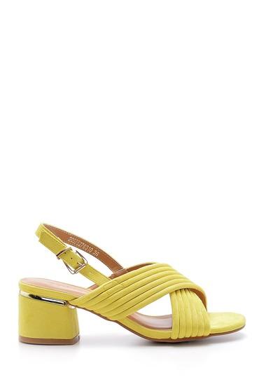 Sarı Kadın Süet Topuklu Sandalet 5638126262