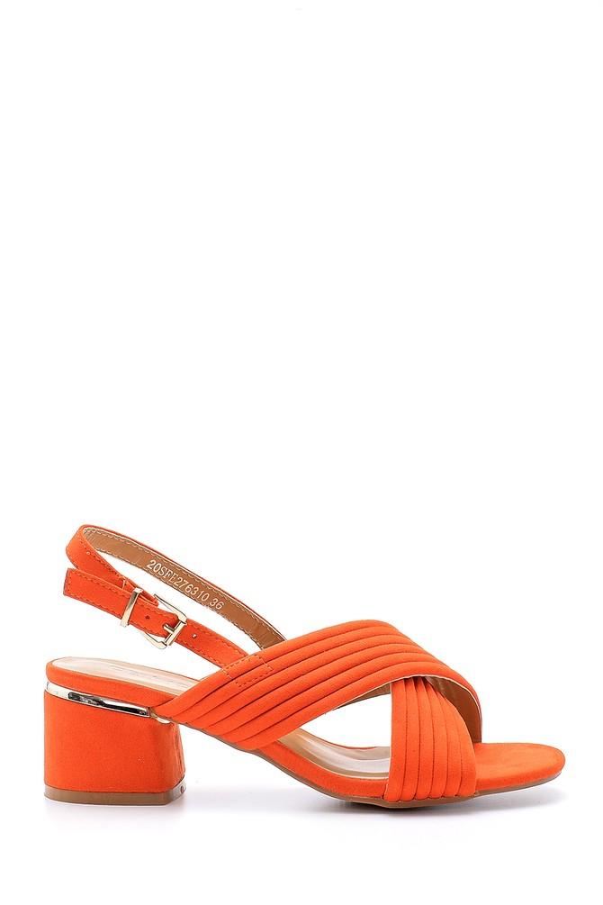 Kırmızı Kadın Süet Topuklu Sandalet 5638126266