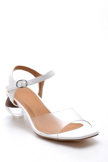 Beyaz Kadın Topuk Detaylı Sandalet 5638128647