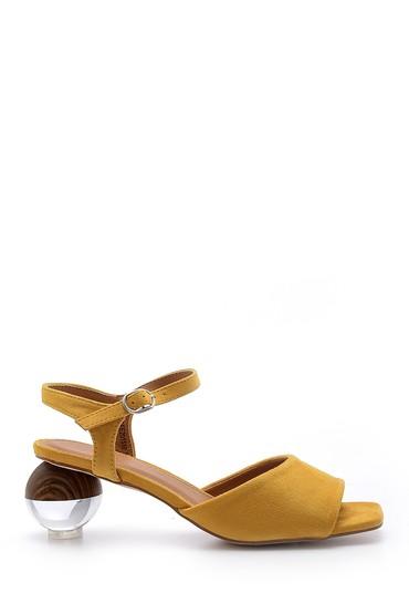 Sarı Kadın Süet Topuk Detaylı Sandalet 5638128665