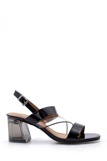 Siyah Kadın Şeffaf Topuklu Sandalet 5638132899