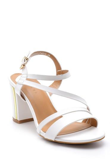 Beyaz Kadın Topuklu Sandalet 5638133004