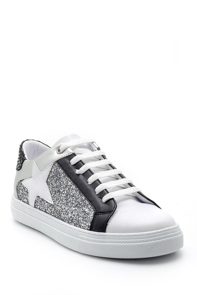 5638176447 Kadın Yıldızlı Simli Sneaker
