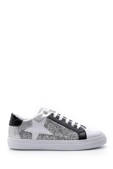 Beyaz Kadın Yıldızlı Simli Sneaker 5638176431