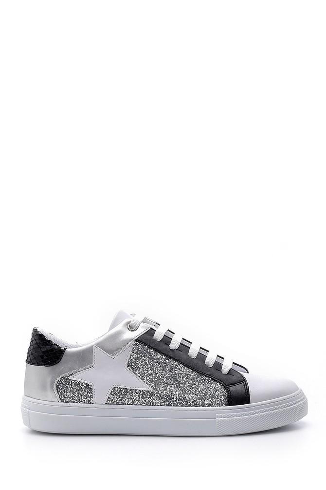 Beyaz Kadın Yıldızlı Simli Sneaker 5638176447