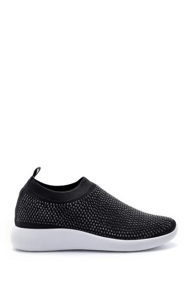 Siyah Kadın Taş Detaylı Çorap Sneaker 5638176492