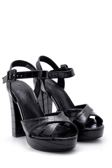 Siyah Kadın Kroko Desenli Topuklu Ayakkabı 5638136165