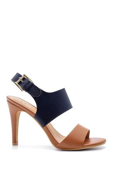 Lacivert Kadın Toka Detaylı Topuklu Sandalet 5638123781