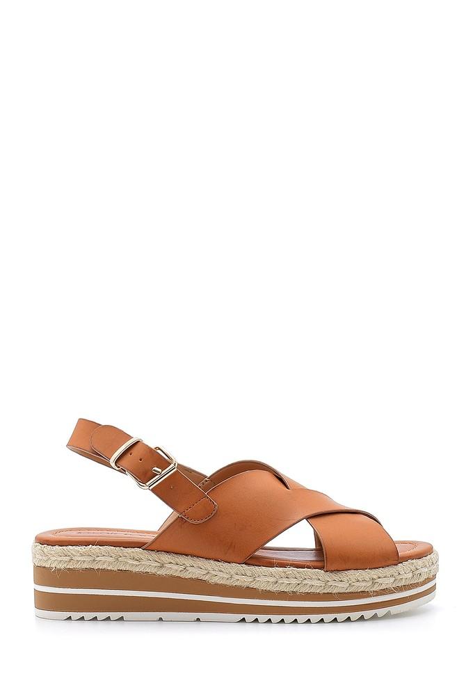 Kahverengi Kadın Hasır Detaylı Sandalet 5638126249