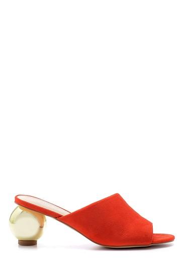 Kırmızı Kadın Süet Yuvarlak Topuklu Terlik 5638127663