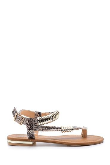 Bej Kadın Yılan Derisi Desenli Sandalet 5638128580