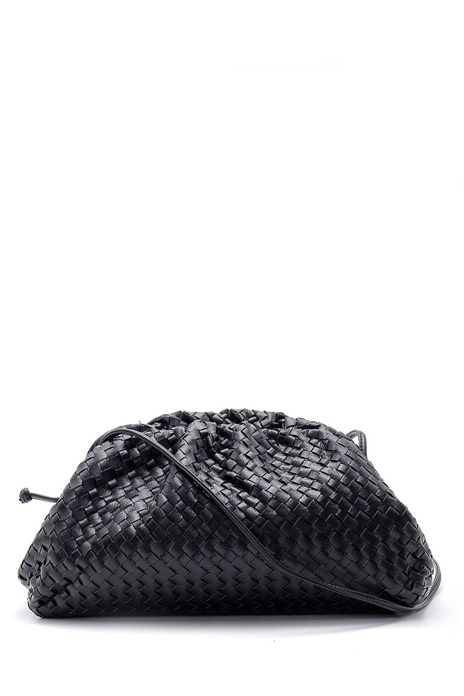 Siyah Kadın Örgü Detaylı Casual Omuz Çantası 5638150263