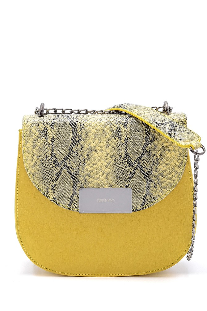 Sarı Kadın Yılan Derisi Detaylı Çapraz Çanta 5638160864