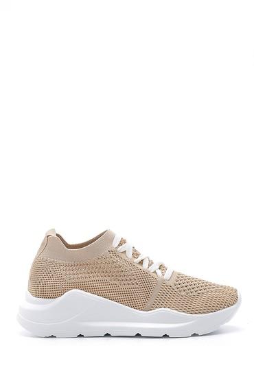 Bej Kadın Bağcıklı Çorap Sneaker 5638142118