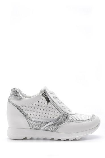 Beyaz Kadın Fermuar Detaylı Sneaker 5638173589