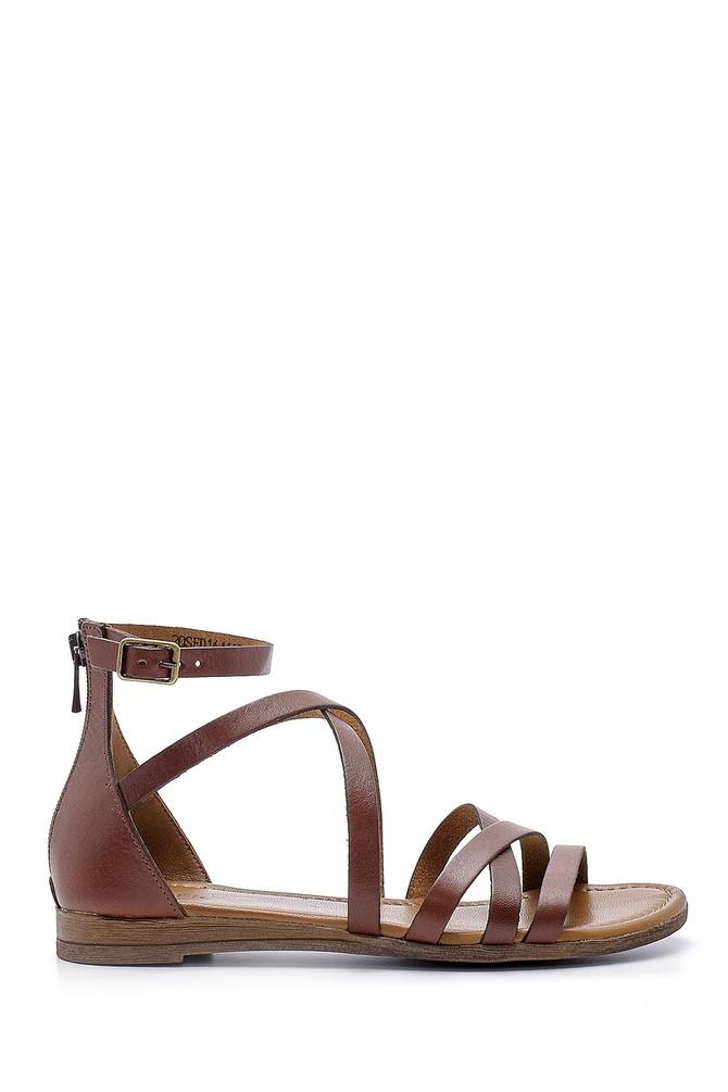 Kahverengi Kadın Deri Sandalet 5638161596