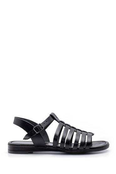 Siyah Kadın Deri Sandalet 5638161615