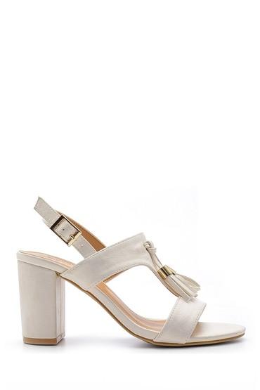 Beyaz Kadın Püskül Detaylı Topuklu Sandalet 5638123762
