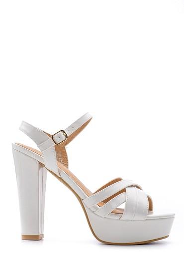 Beyaz Kadın Rugan Topuklu Ayakkabı 5638123849