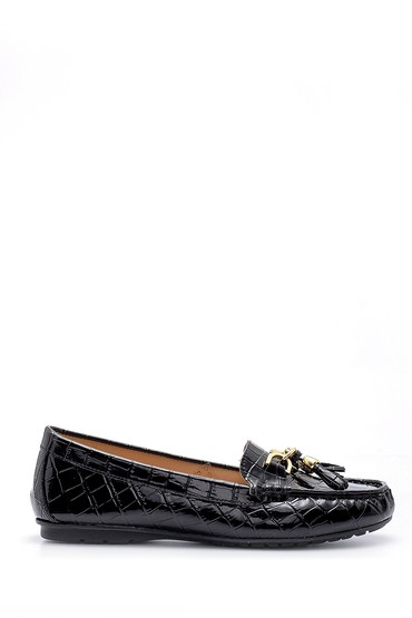 Siyah Kadın Kroko Desenli Rugan Loafer 5638121369