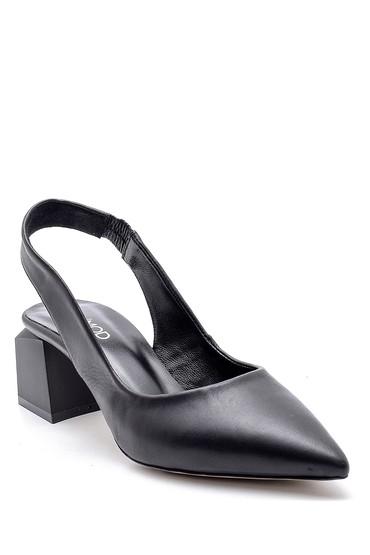 Siyah Kadın Deri Topuklu Ayakkabı 5638161100