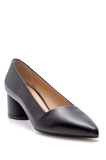 Siyah Kadın Deri Topuklu Ayakkabı 5638161219