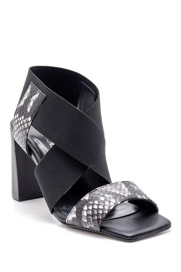 Siyah Kadın Deri Yılan Derisi Desenli Topuklu Sandalet 5638161542