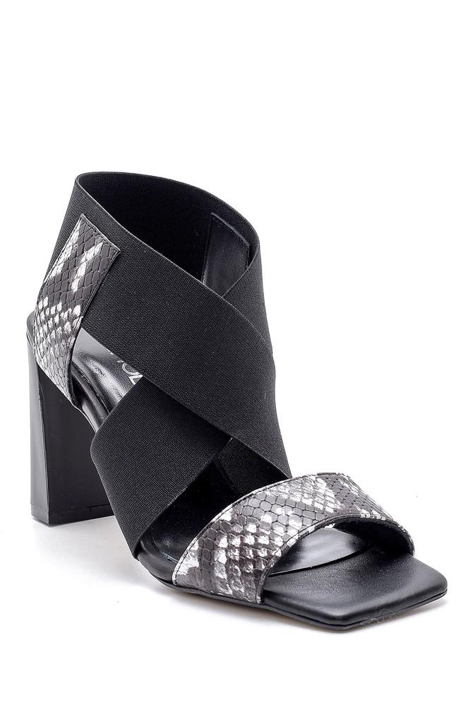 5638161542 Kadın Deri Yılan Derisi Desenli Topuklu Sandalet
