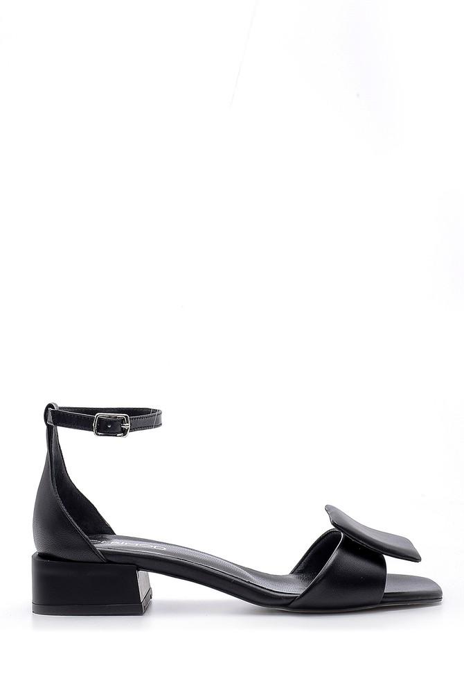 Siyah Kadın Deri Sandalet 5638161736