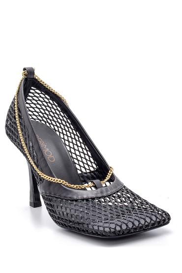 Siyah Kadın Zincir Detaylı Kare Burun Topuklu Ayakkabı 5638167577