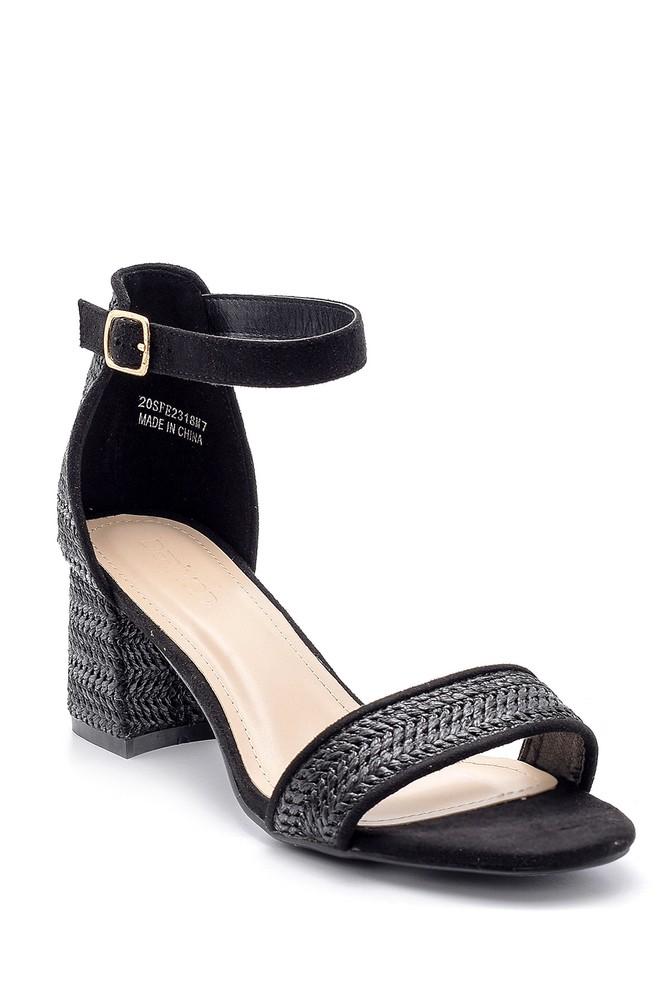 5638135788 Kadın Hasır Görünümlü Topuklu Sandalet