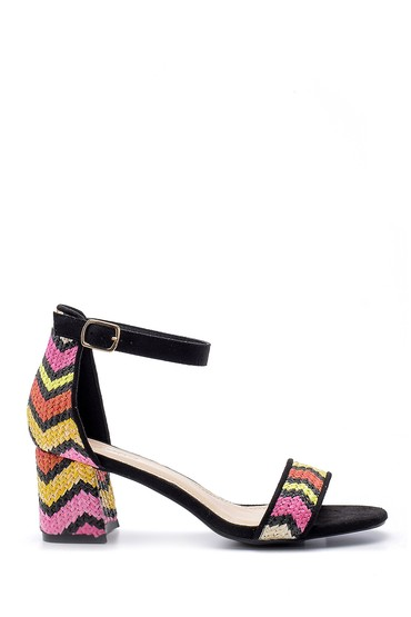 Multi Renk Kadın Hasır Görünümlü Topuklu Sandalet 5638135790