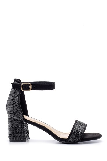 Siyah Kadın Hasır Görünümlü Topuklu Sandalet 5638135788